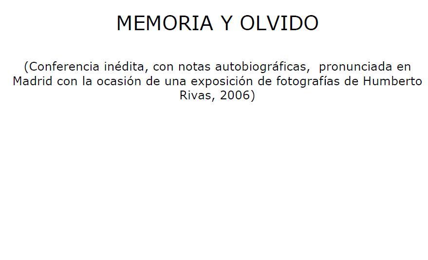 Memoria y olvido